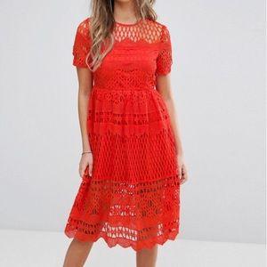 ASOS BooHoo corded lace laser cut dress